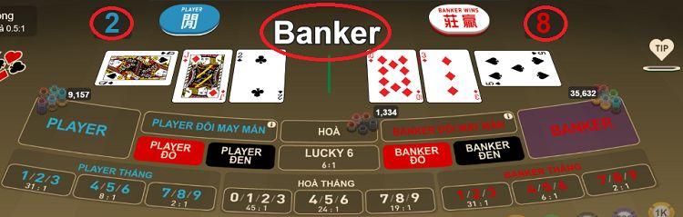 banker thắng với 8 điểm